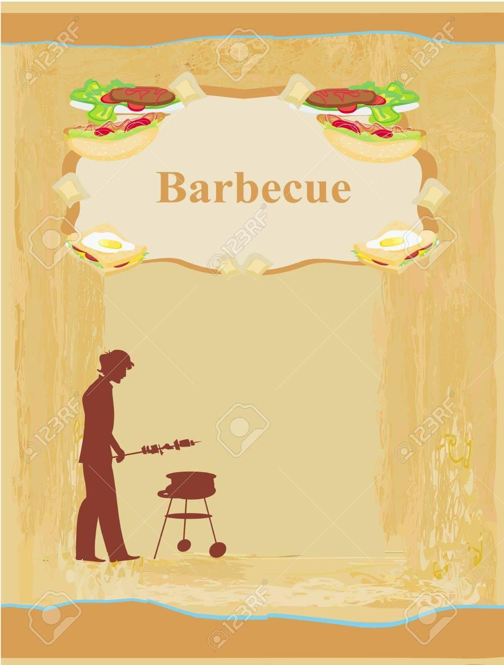 mann kochen auf seinem grill - einladung lizenzfrei nutzbare, Einladungen