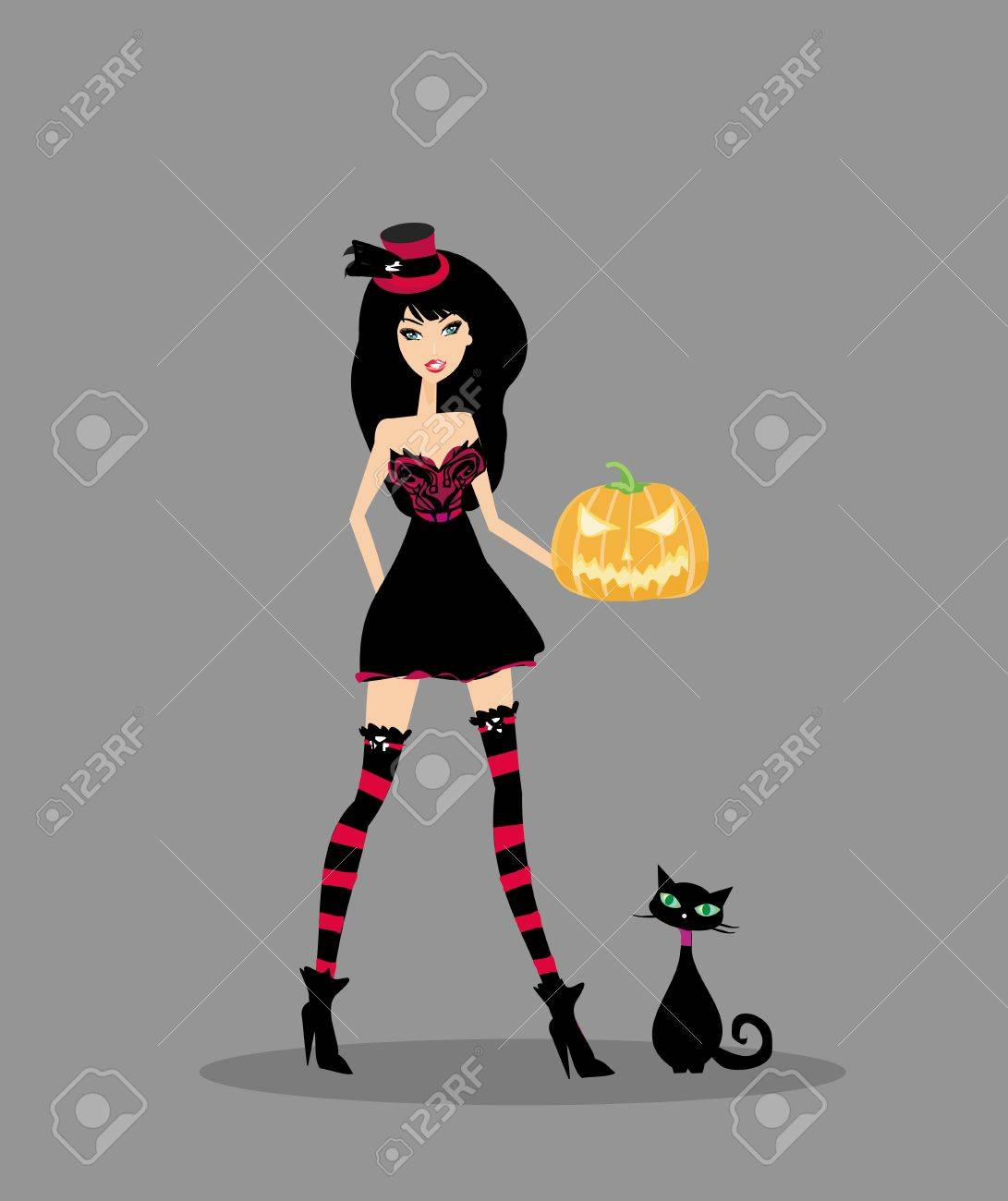 Halloween witch standing with pumpkin Stock Vector - 14157733