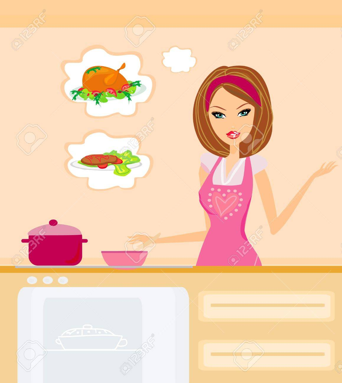 Beautiful housewife cooking Stock Vector - 14248110