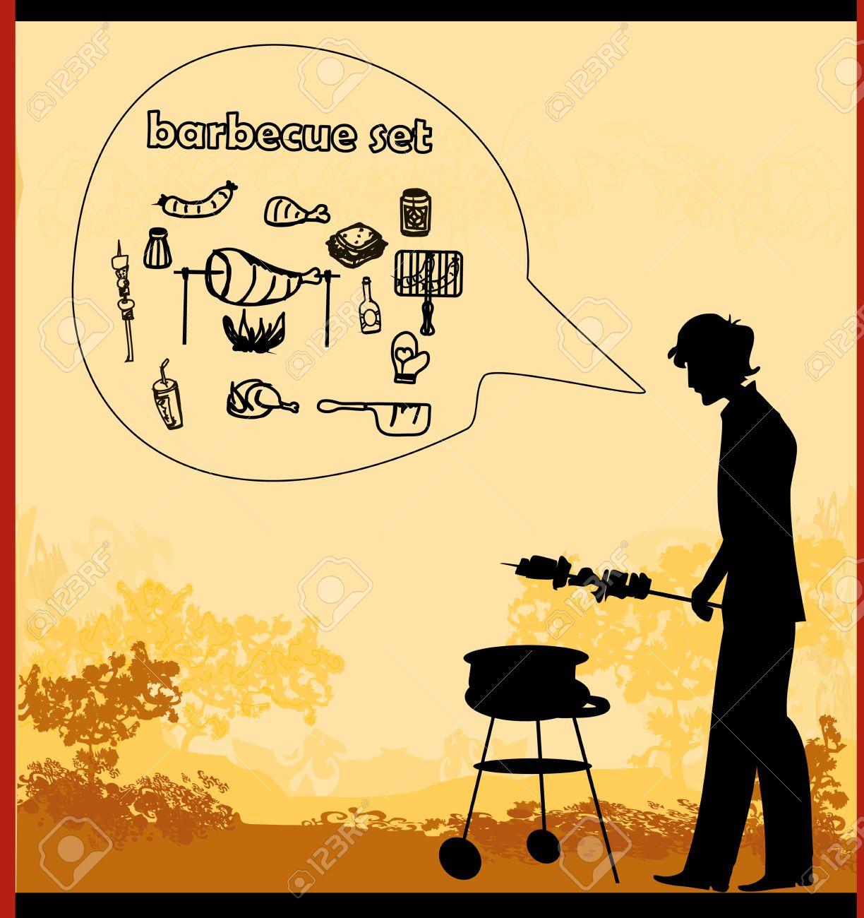 mann kochen auf seinem grill-einladung lizenzfrei nutzbare, Einladung