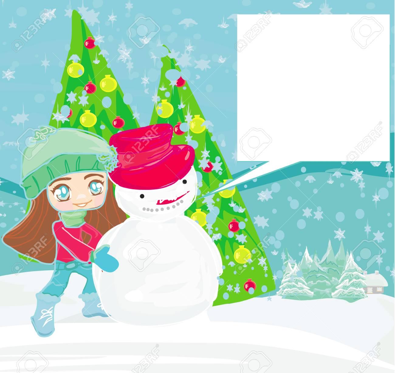 Little girl and snowman card Stock Vector - 14488688