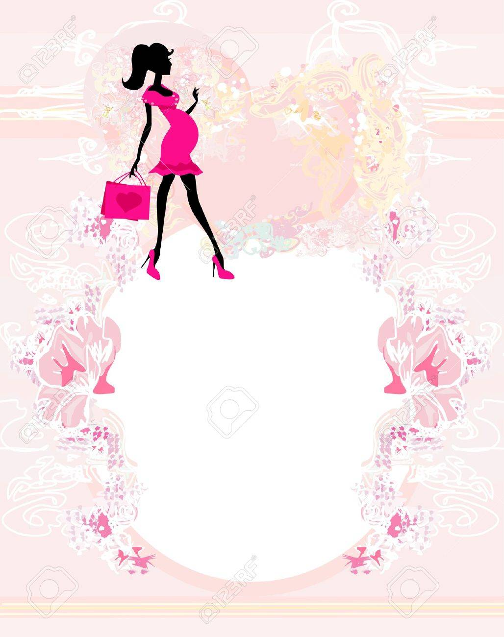 Beautiful pregnant woman on shopping for her new baby- abstract Stock Vector - 14812201