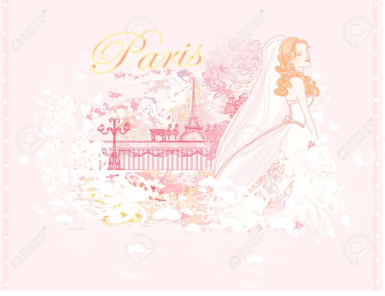 Beautiful bride in Paris card Stock Vector - 14960112