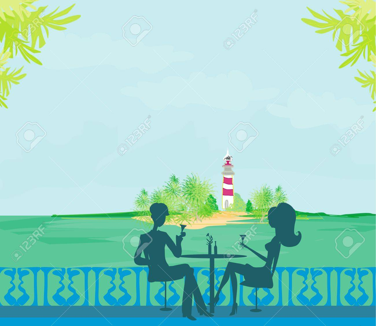 Happy young couple on a tropical beach Stock Vector - 15237580