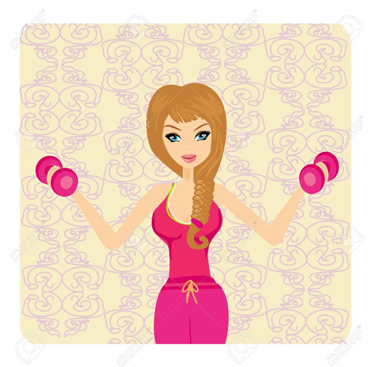 fit woman exercising with two dumbbell weights on her hands - 15351147