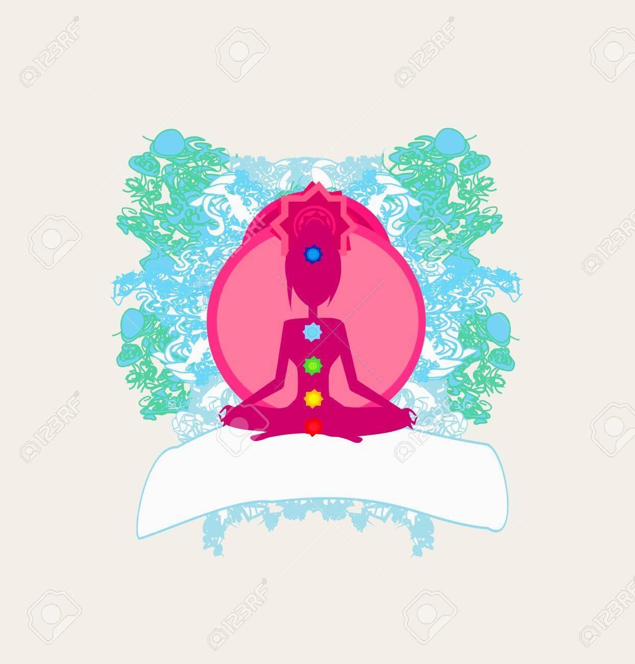 Yoga lotus pose  Padmasana with colored chakra points Stock Vector - 15541396