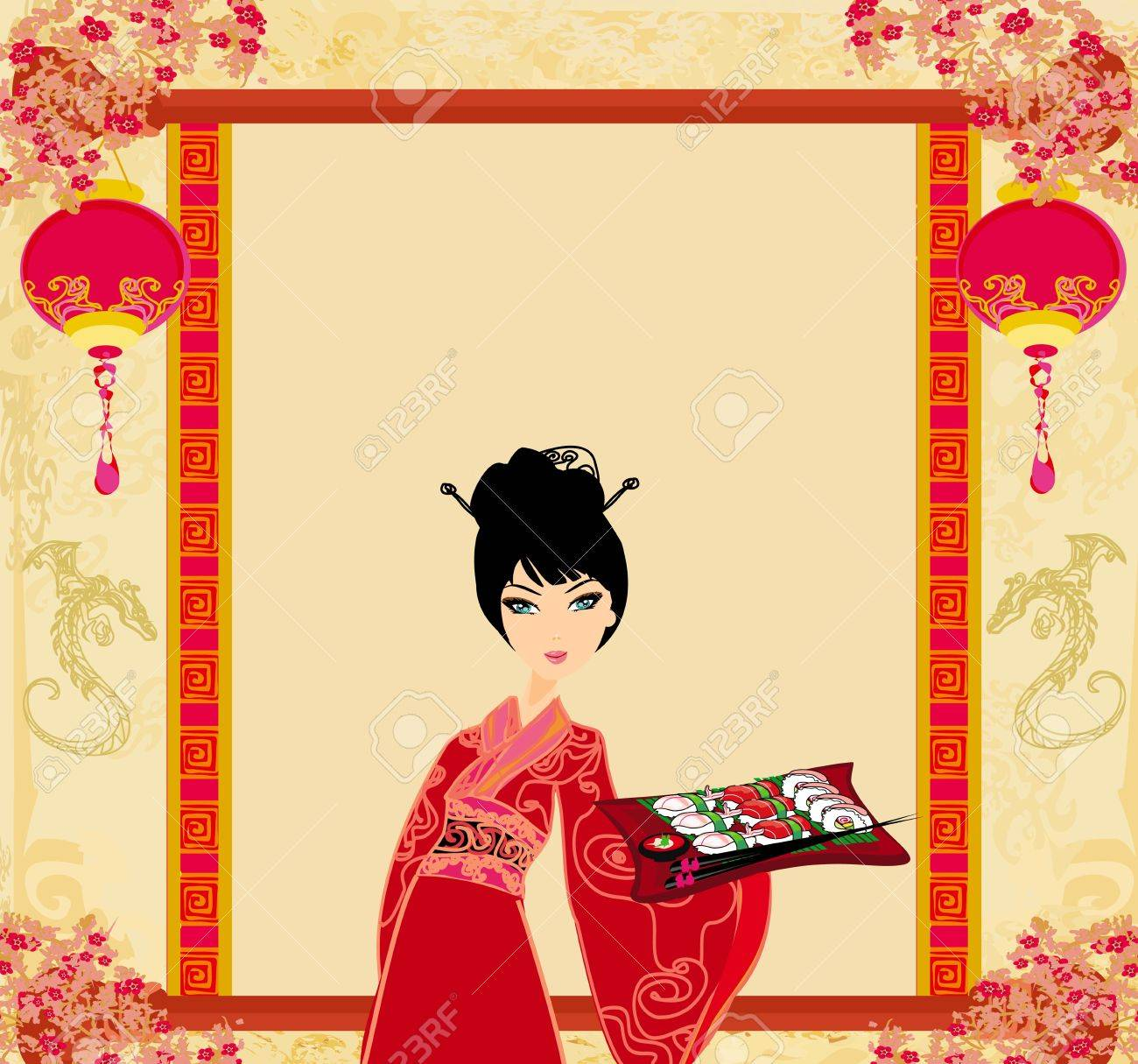 beautiful Asian girl enjoy sushi - menu template Stock Vector - 15558735