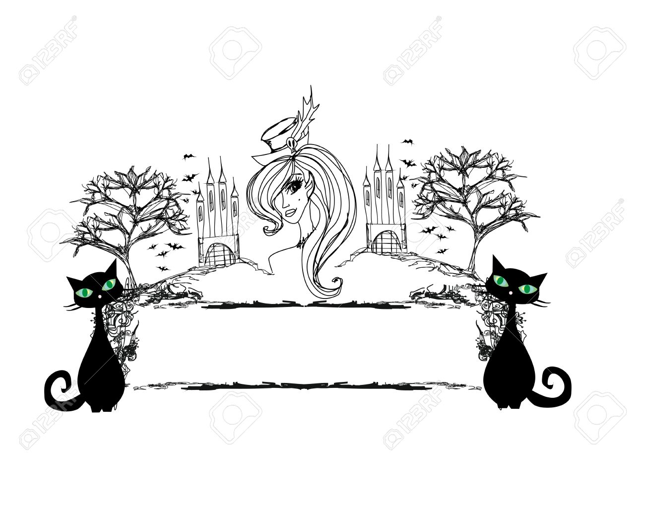 Halloween witch and her cat - abstract grunge frame Stock Vector - 15558739