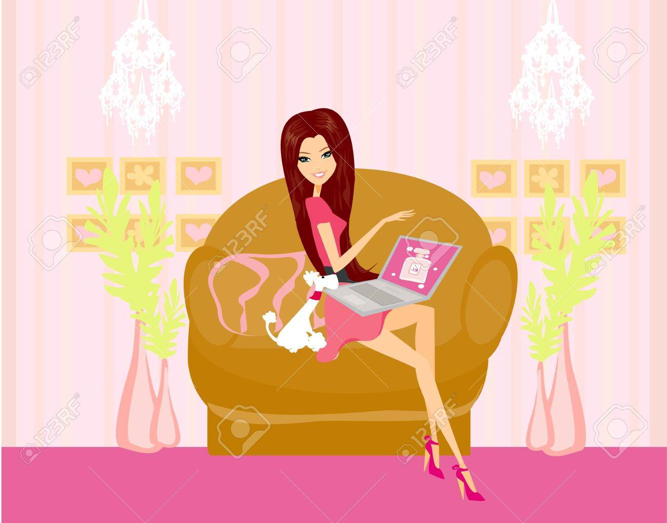 Online shopping - young smiling woman sitting with laptop computer Stock Vector - 16234640