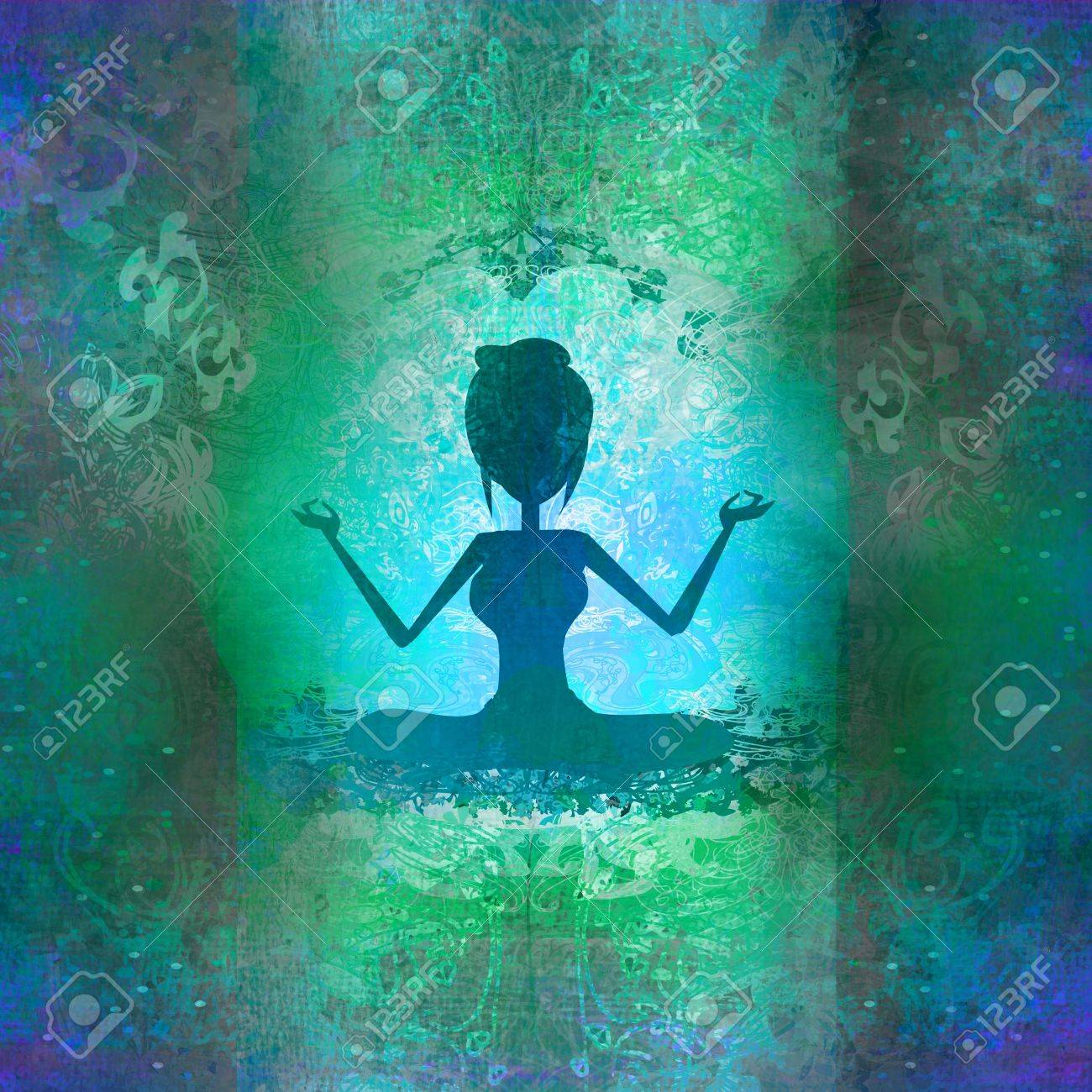 Yoga girl in lotus position - abstract background Stock Photo - 16554478