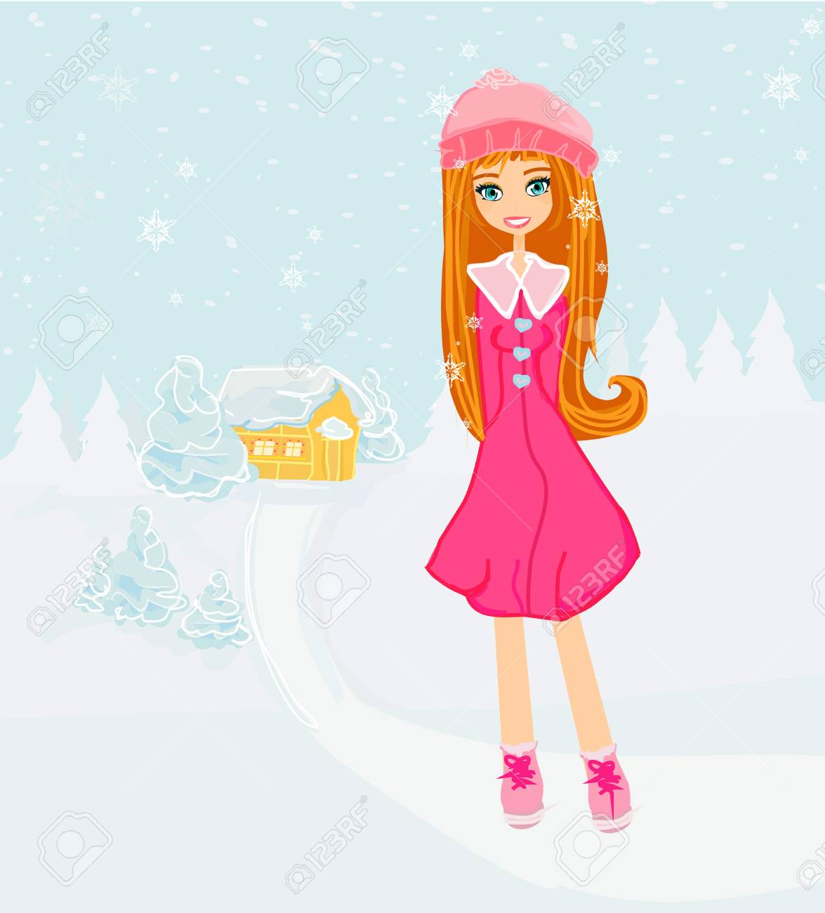 beautiful winter girl Stock Vector - 16674337