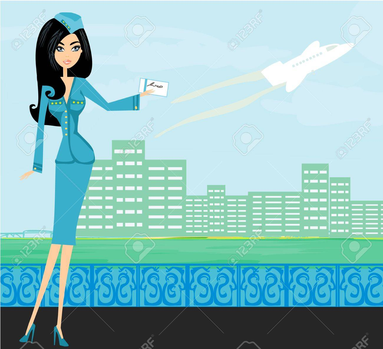 Beautiful stewardess with ticket Stock Vector - 16939425