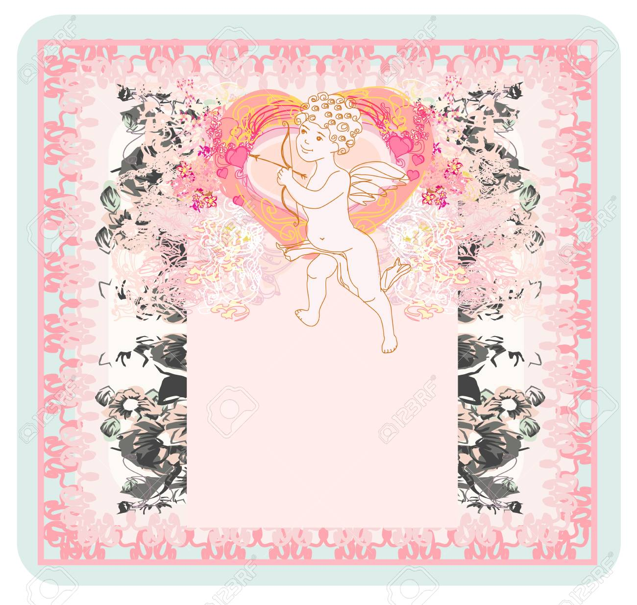 happy valentines day card with cupids Stock Vector - 17040727