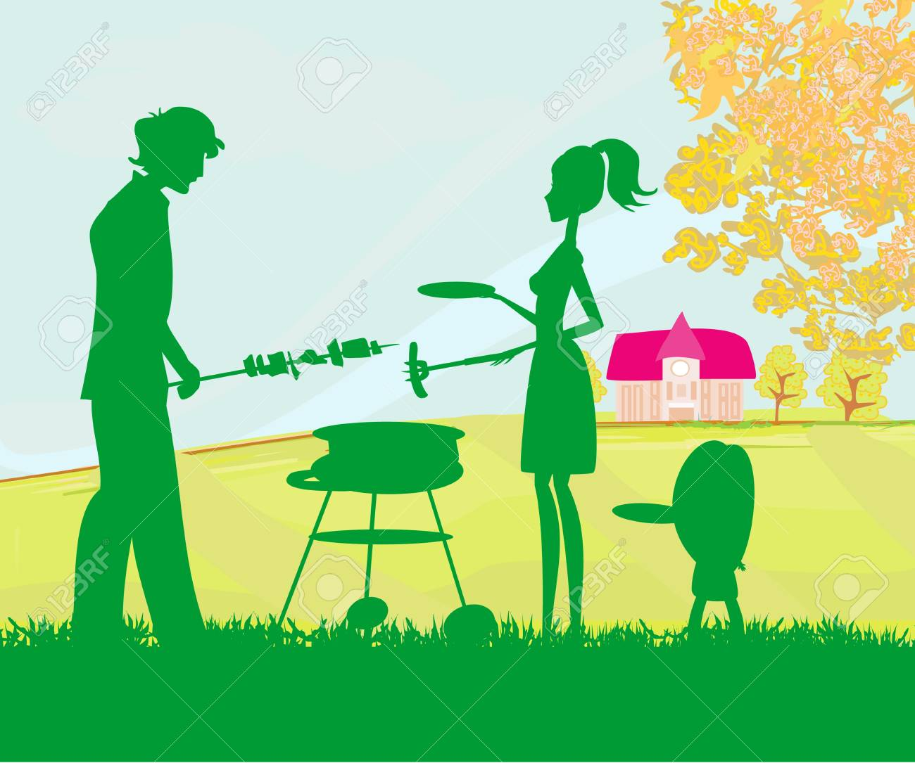 illustration of a family having a picnic in a park Stock Vector - 17224868