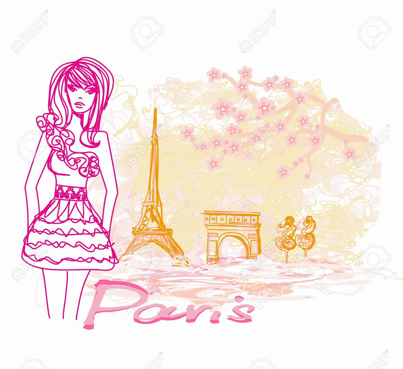 beautiful women Shopping in Paris - vector card Stock Vector - 17245304