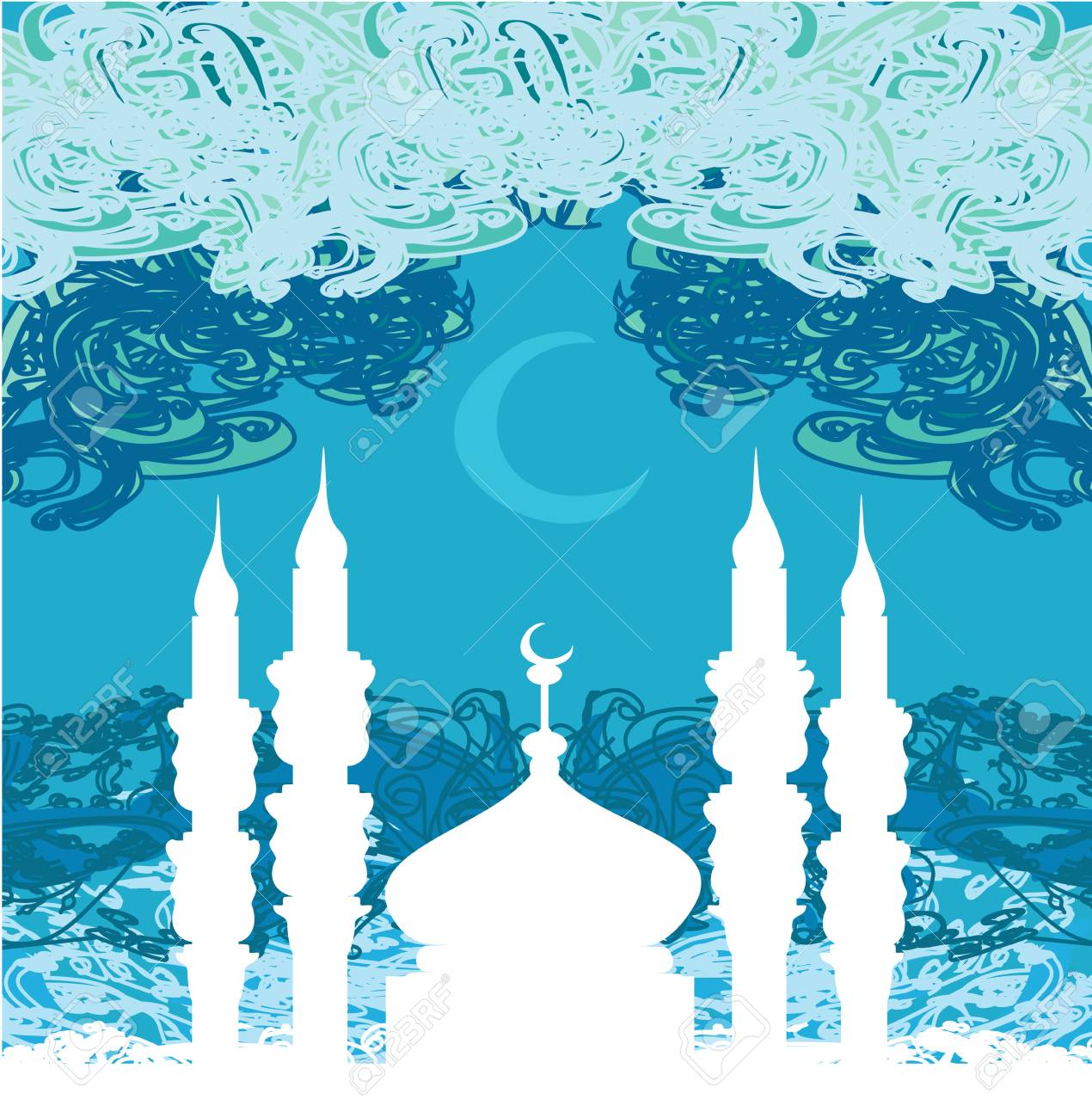 artistic pattern background with moon and mosque Stock Vector - 17274461