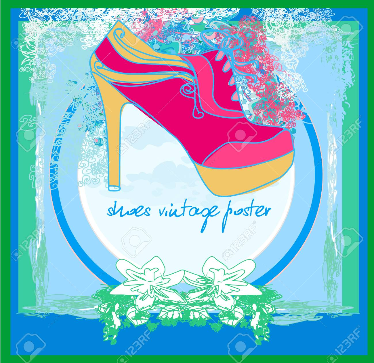 shoes vintage poster Stock Vector - 17354904
