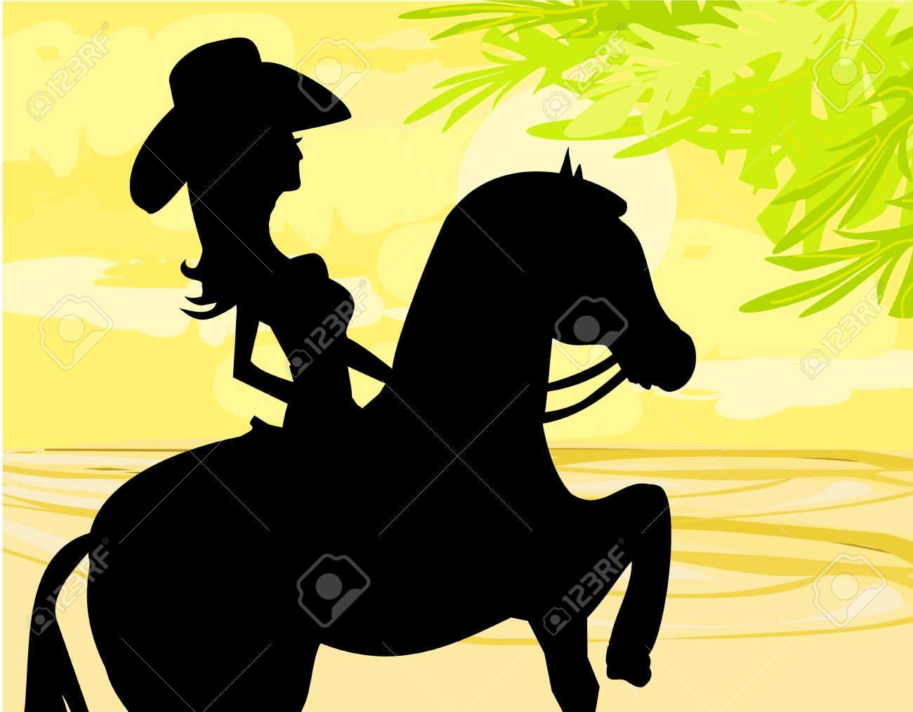 Silhouette Of Cowgirl And Horse Royalty Free Cliparts Vectors And Stock Illustration Image 17468133