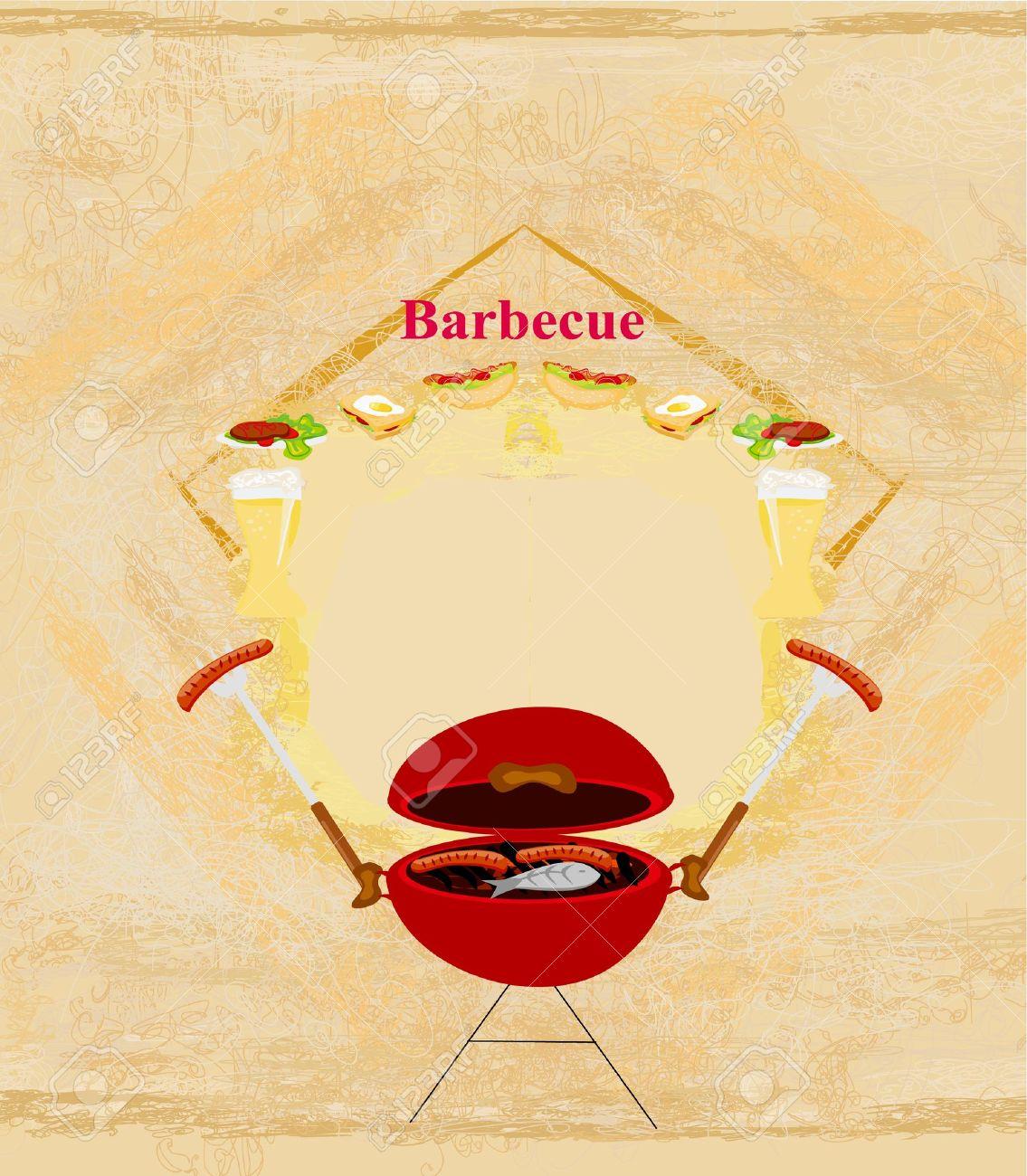 Vintage Barbecue Party Invitation Royalty Free Cliparts, Vectors ...