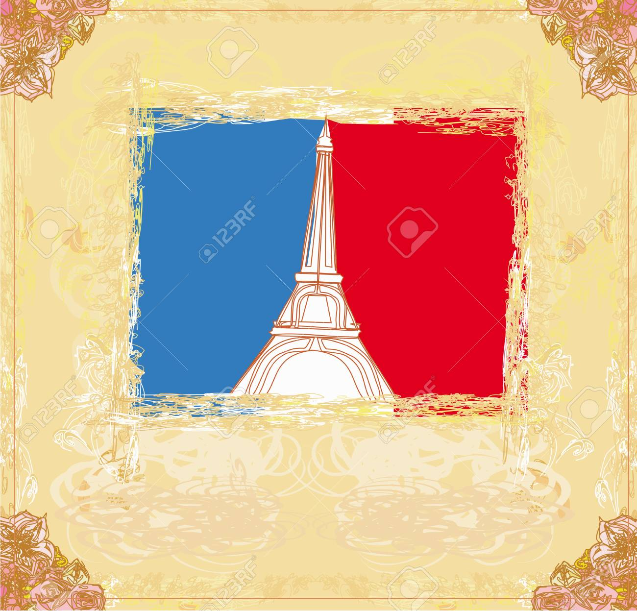 Eiffel tower artistic background. Stock Vector - 17531043