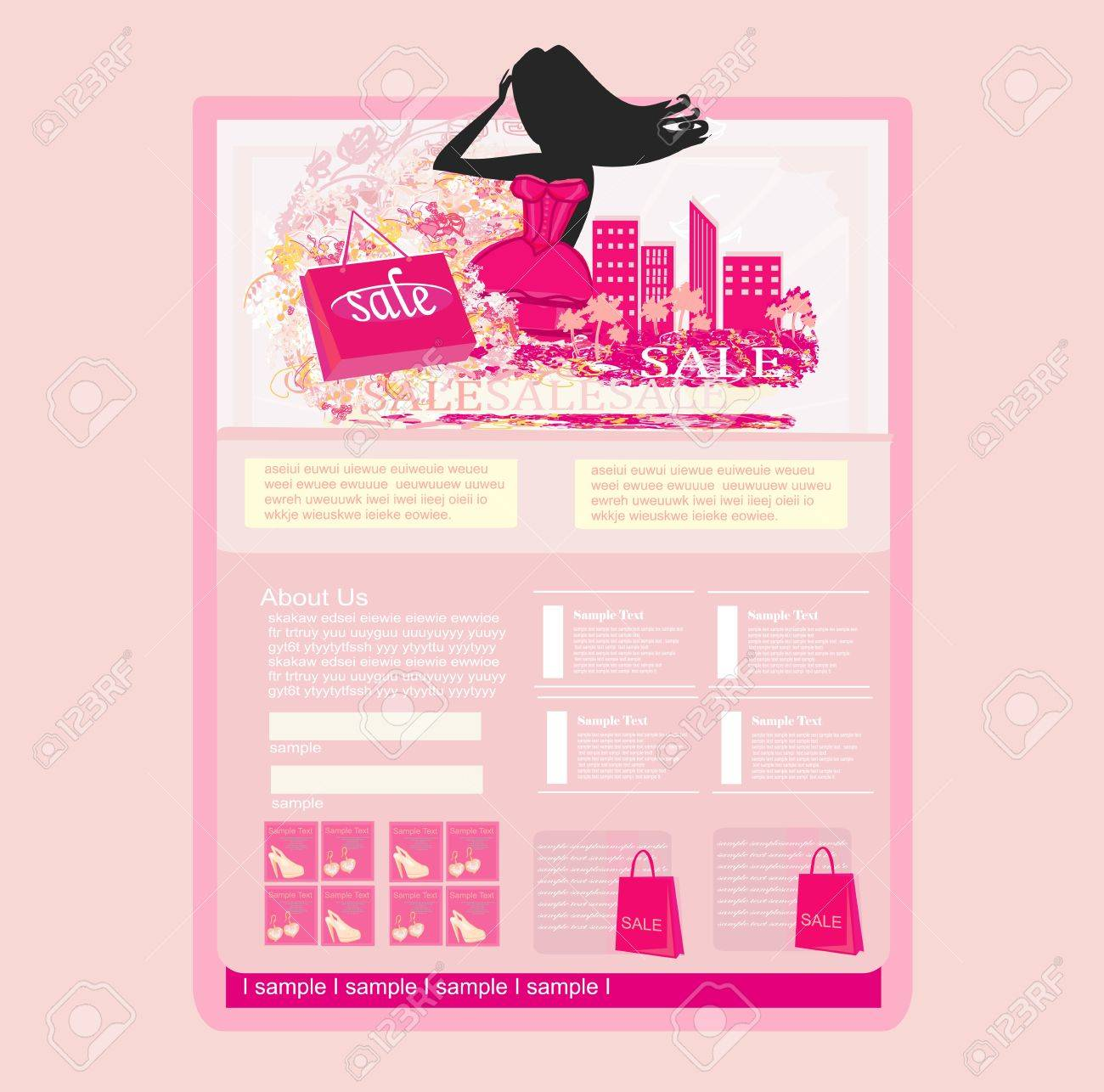 Fashion shopping Website template Stock Vector - 17667110