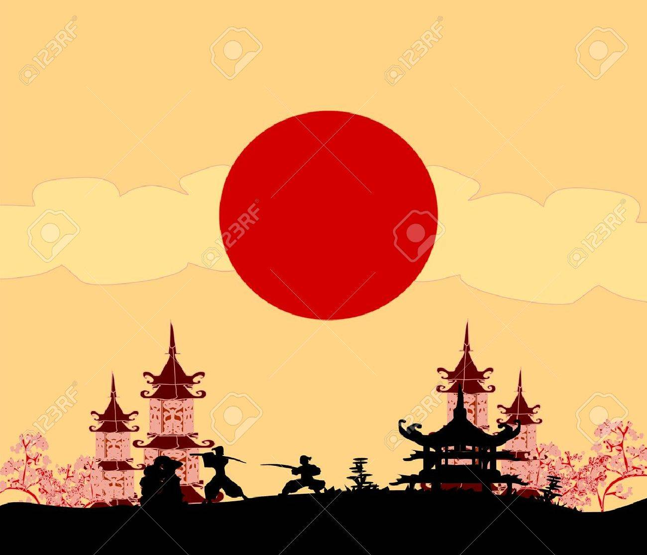 old paper with Samurai silhouette Stock Vector - 17667906