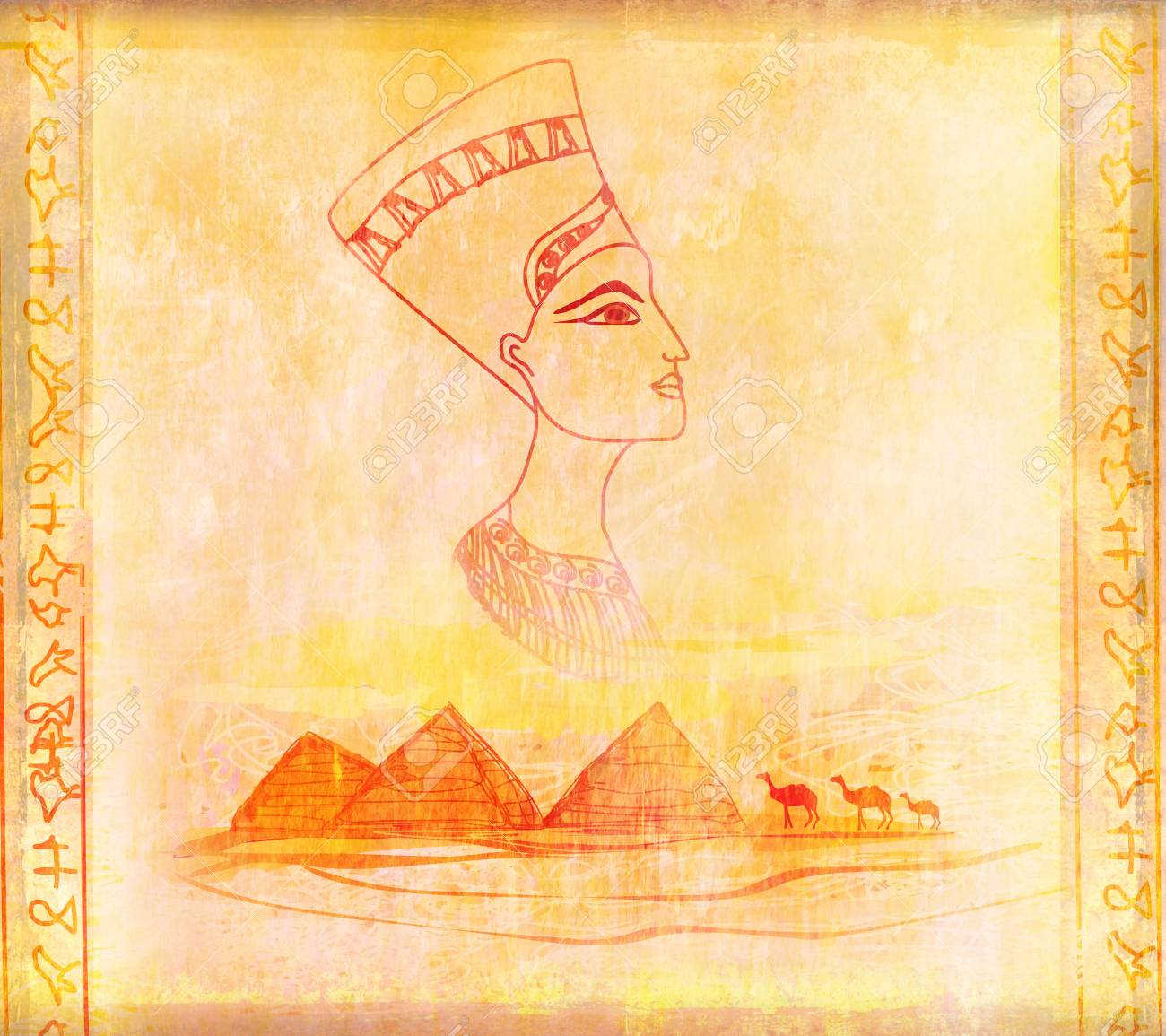 old paper with Egyptian queen Stock Photo - 17779011