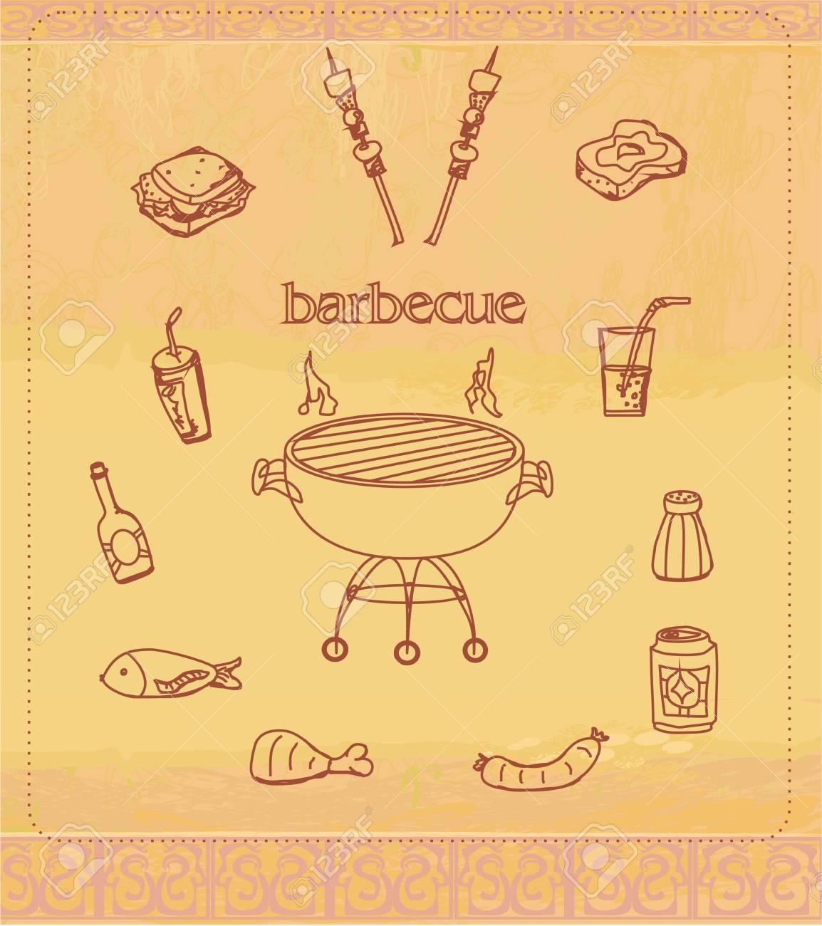 Vintage Barbecue Party Invitation Stock Vector - 17779009