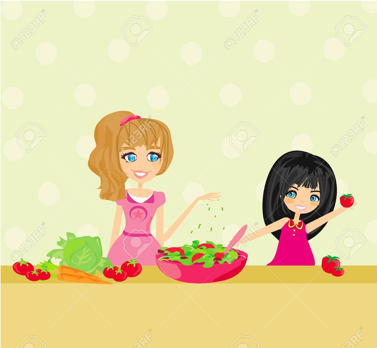 Two smiling kids mixing salad Stock Vector - 17935387