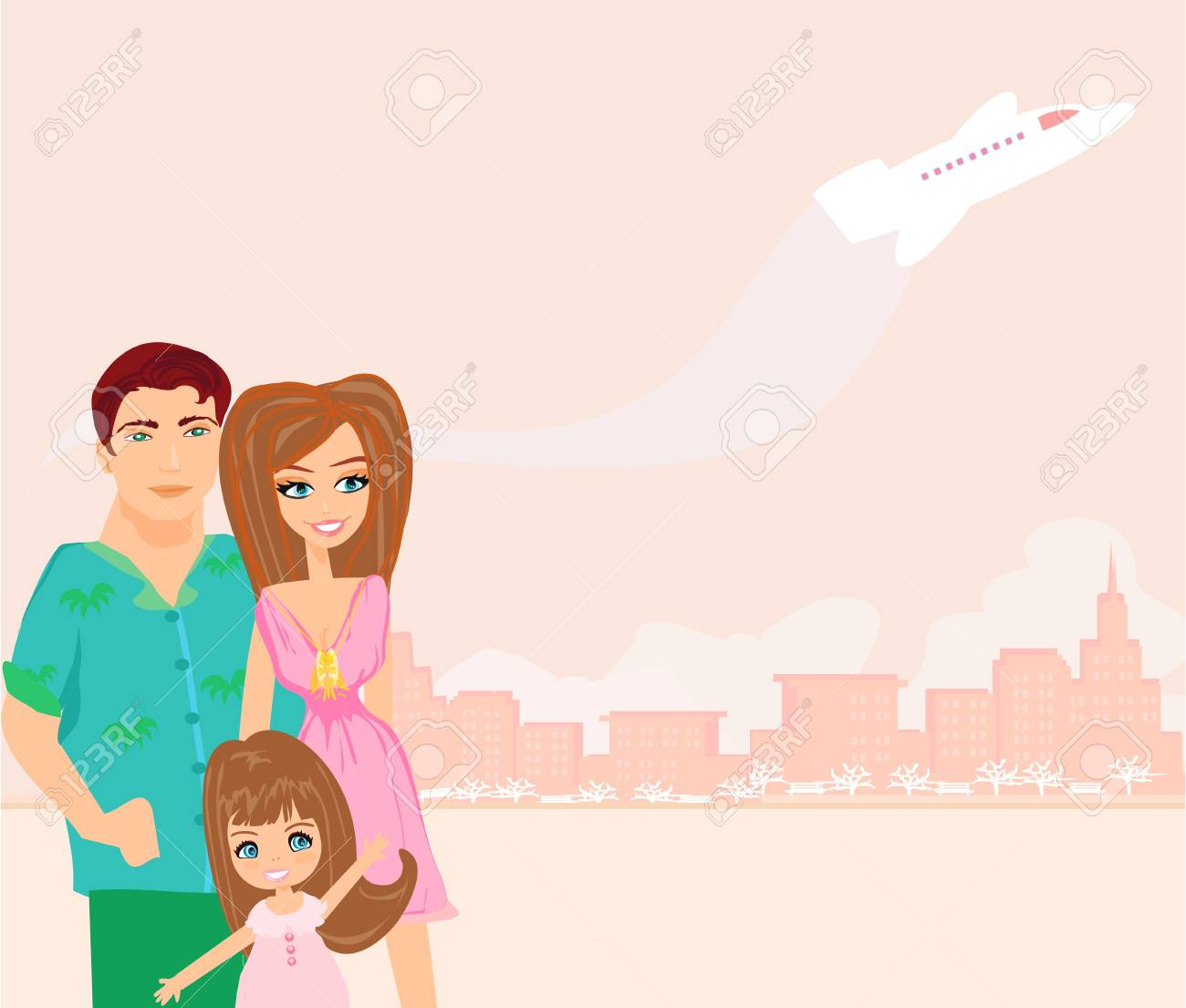 family going on a vacation Stock Vector - 17935389
