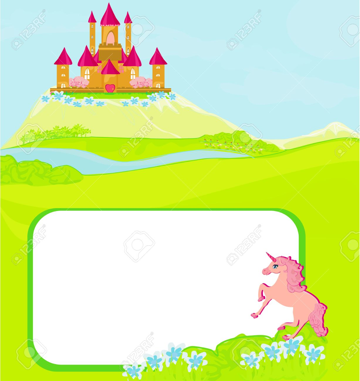 Portrait frame with fairy tale castle and beautiful country side landscape Stock Vector - 17935400