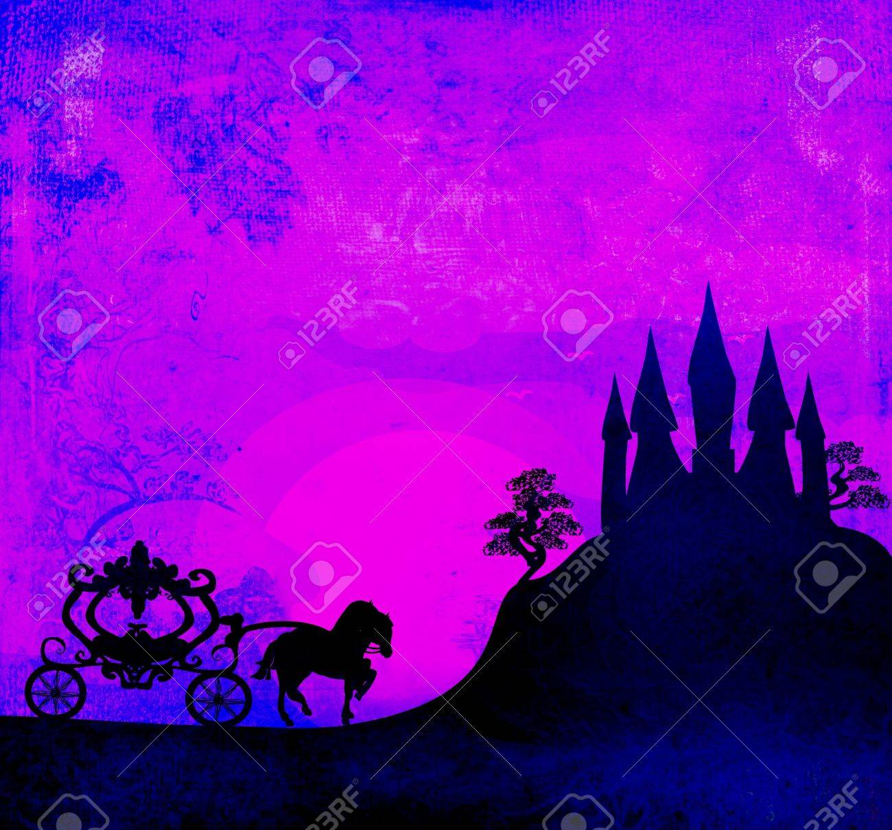 Carriage at sunset. Silhouette of a horse carriage and a medieval castle Stock Photo - 17936537