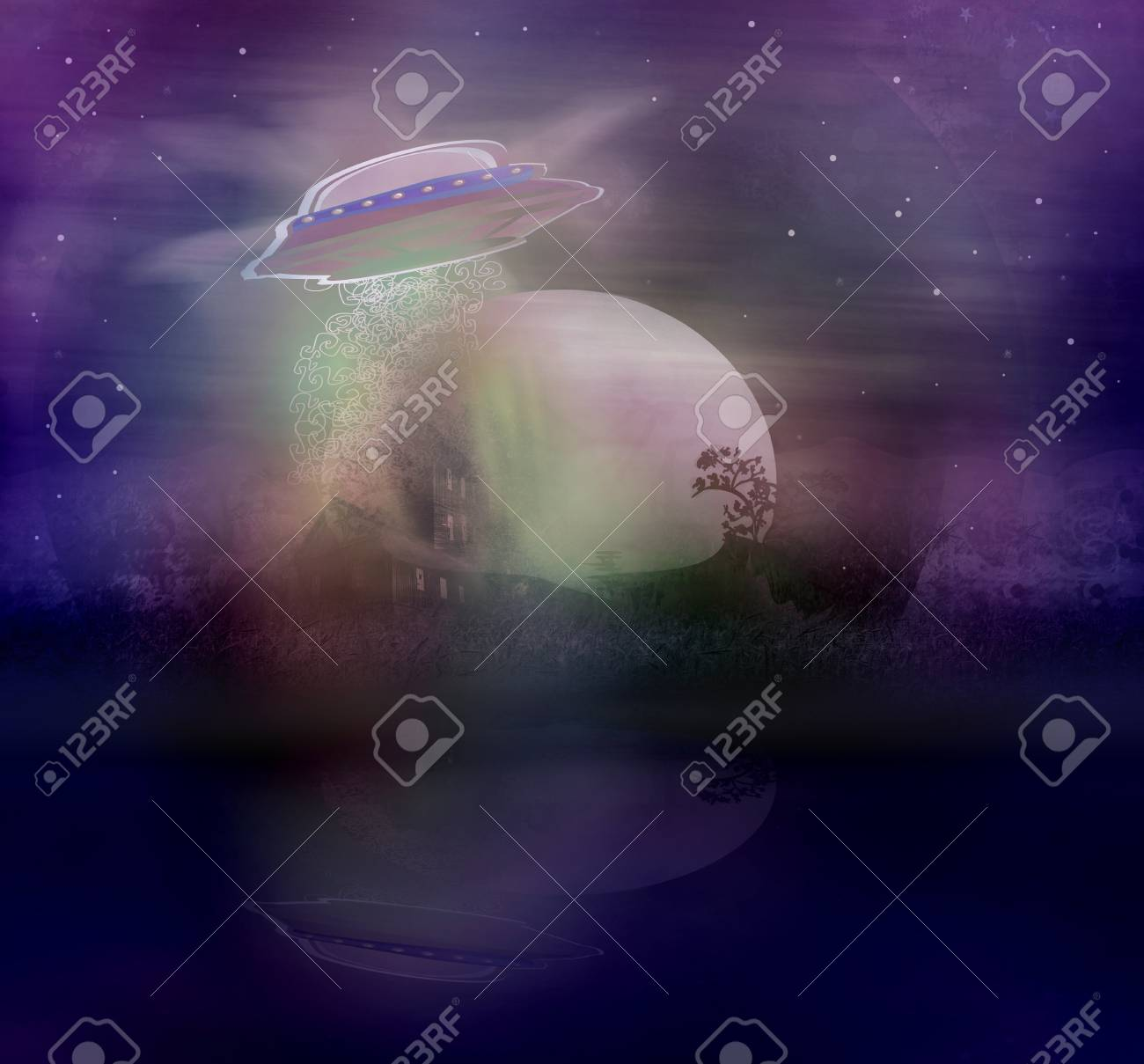 UFO hovering over a landscape Stock Photo - 17936535