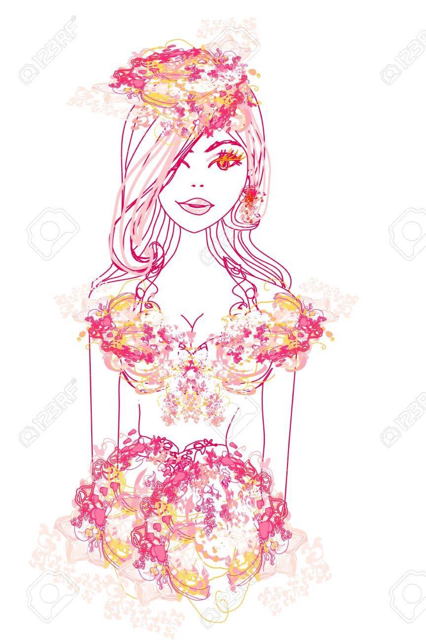 Creative fashion portrait, vector Stock Vector - 18183968