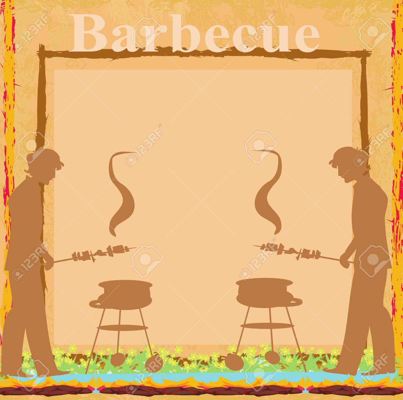 Hombre De Cocinar En Su Barbacoa Tarjeta De Invitación