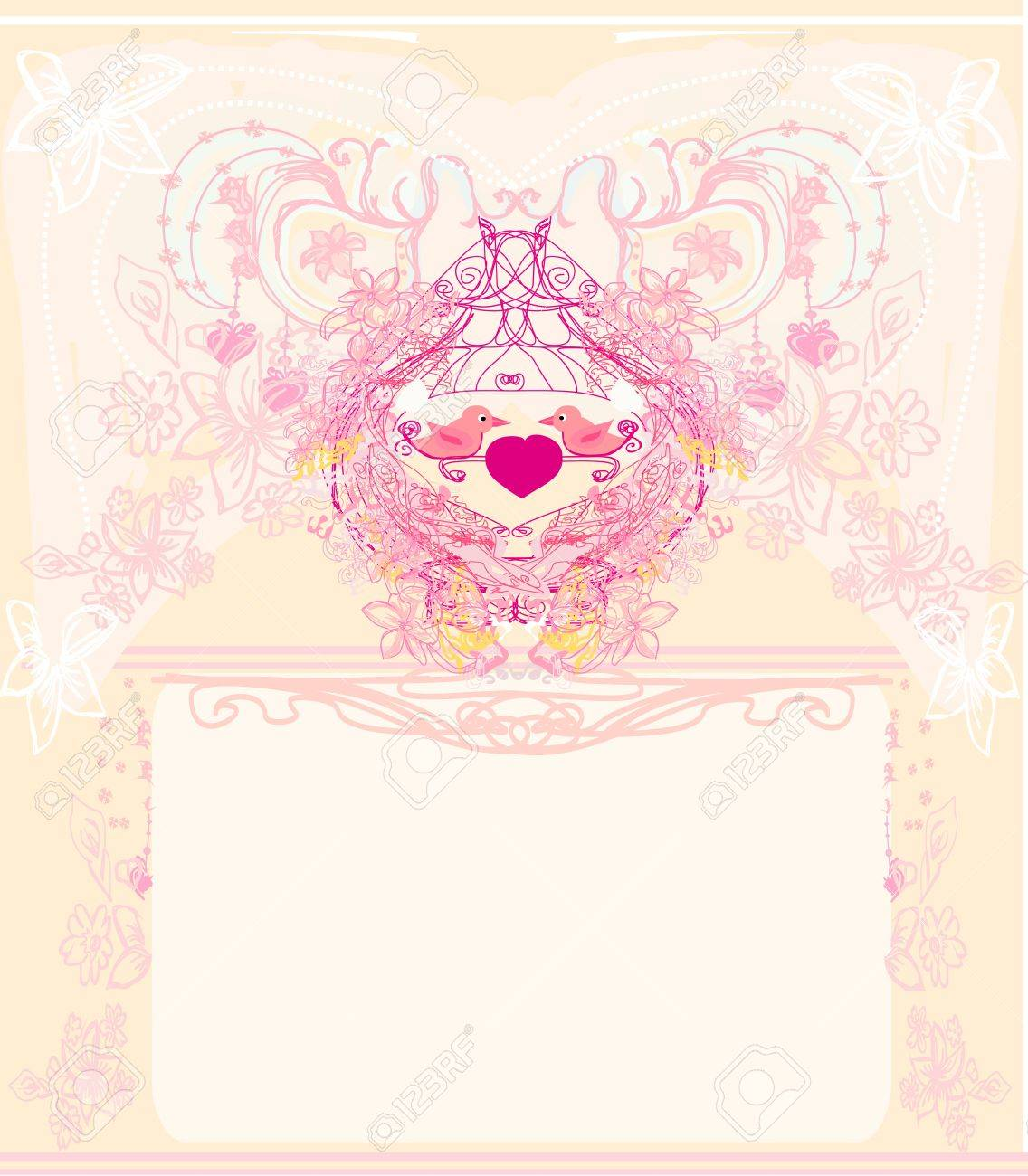 Greeting Card With 2 Sweet Love Birds Wedding Invitation Royalty