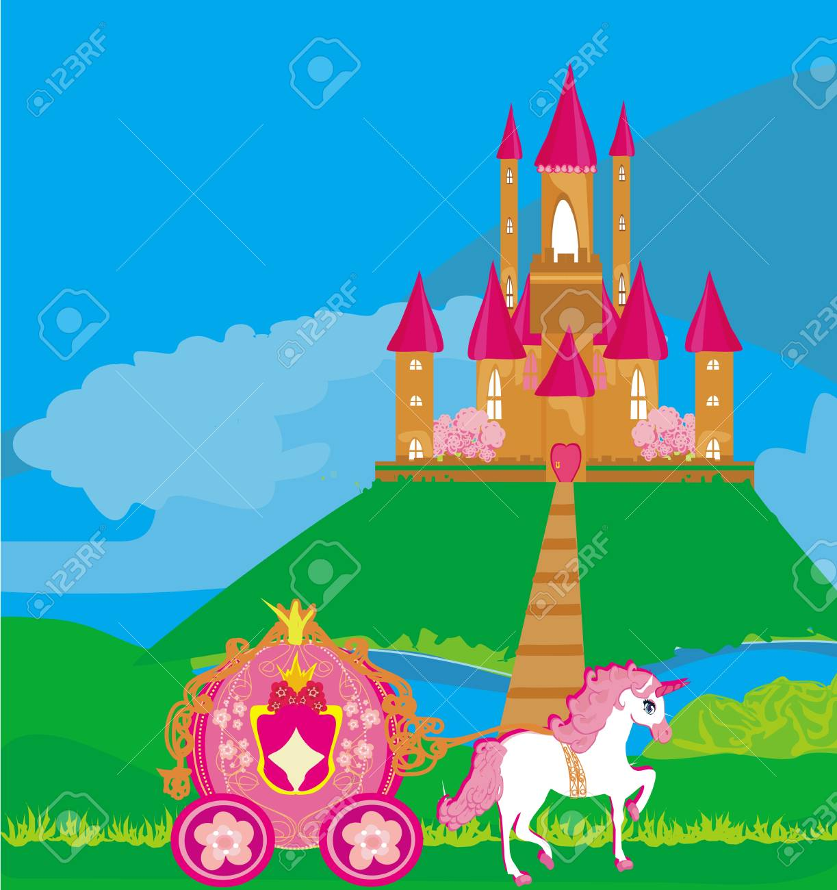 castle and beautiful carriage Stock Vector - 18452832