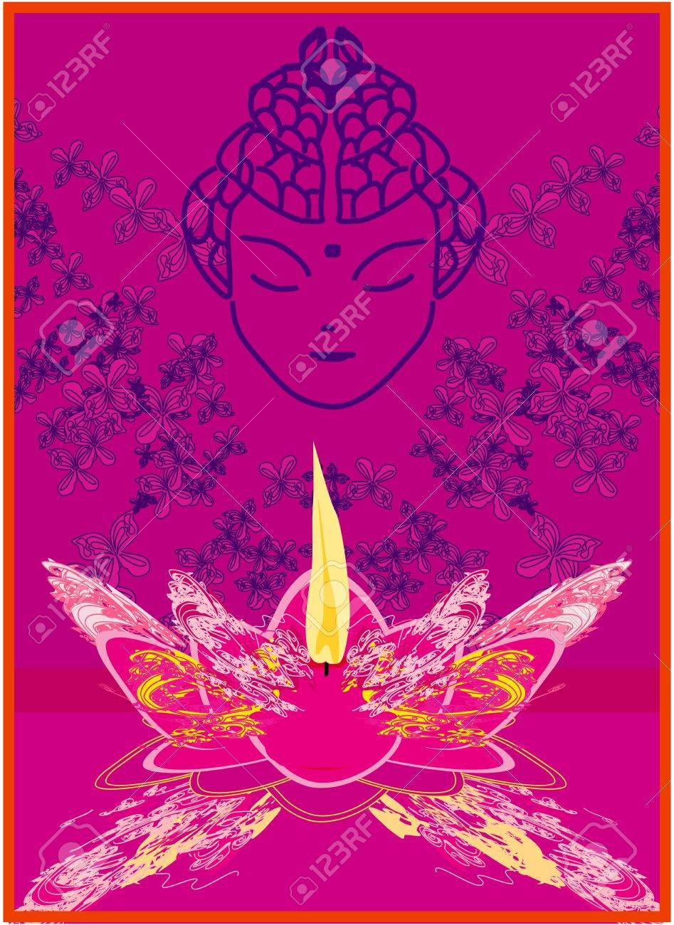 Lotus Oil Lamp with Buddha Stock Vector - 18560927