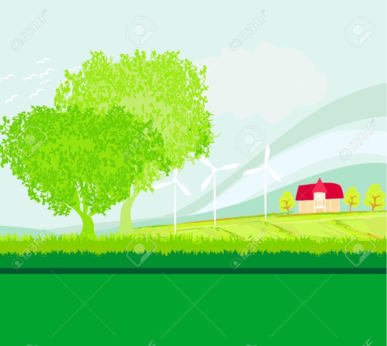 Eco farming - landscapes Stock Vector - 18847355