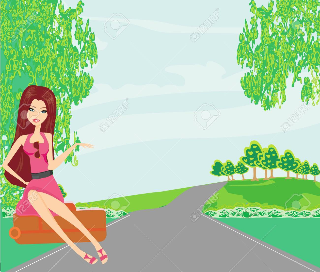 Pretty young woman hitchhiking along a road. Stock Vector - 18902756