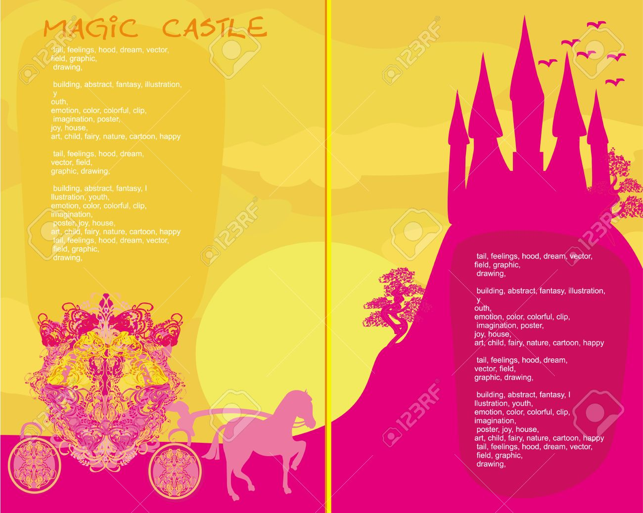 fairy tale book - Silhouette of a horse carriage and a medieval castle Stock Vector - 18982285