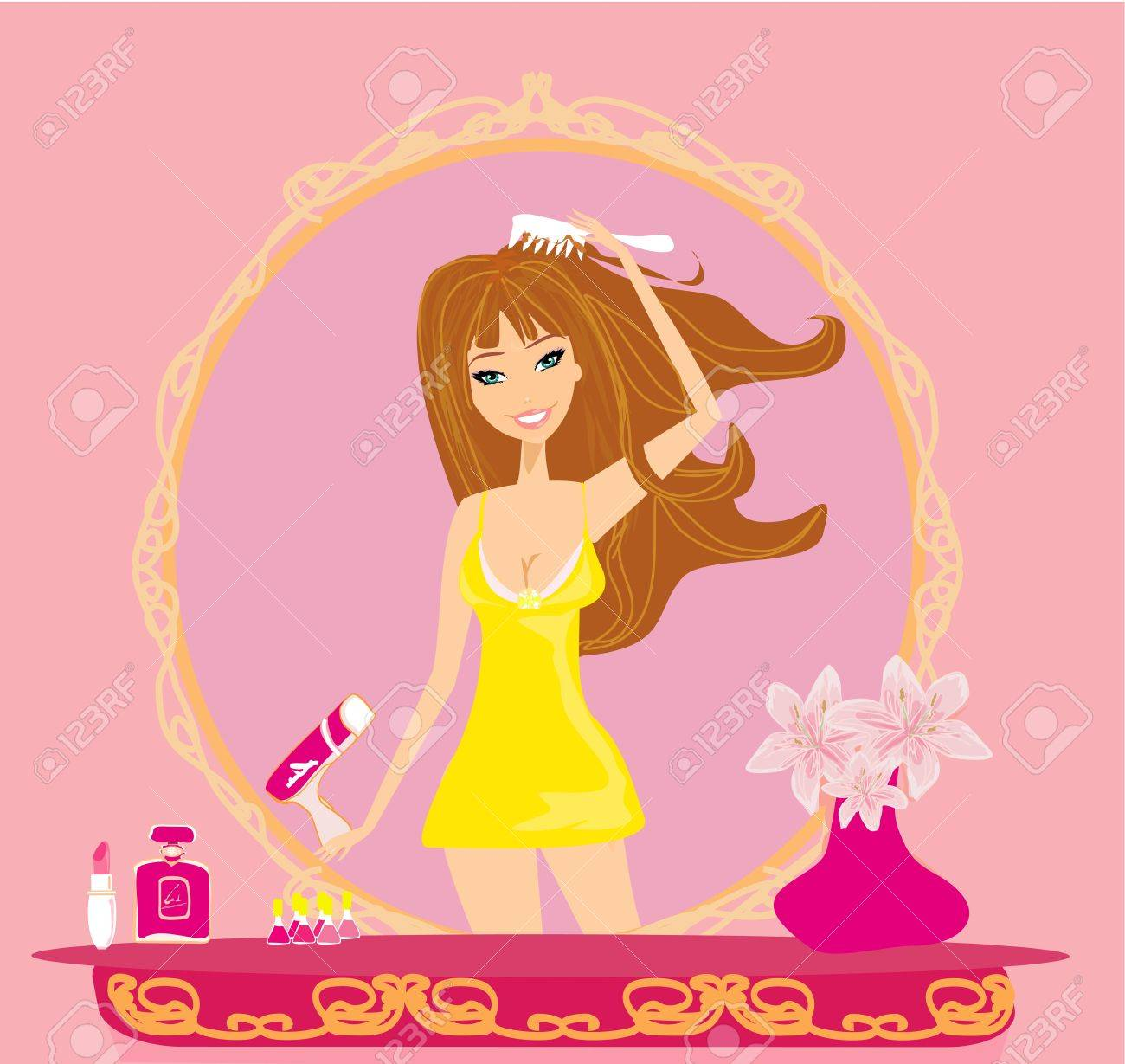 beautiful woman drying her hair by dryer Stock Vector - 19187525
