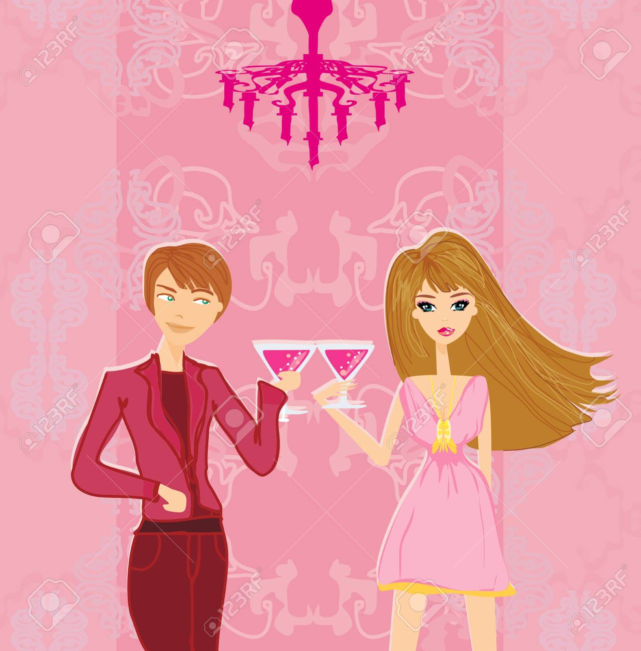 Young couple flirt and drink champagne Stock Vector - 19263190