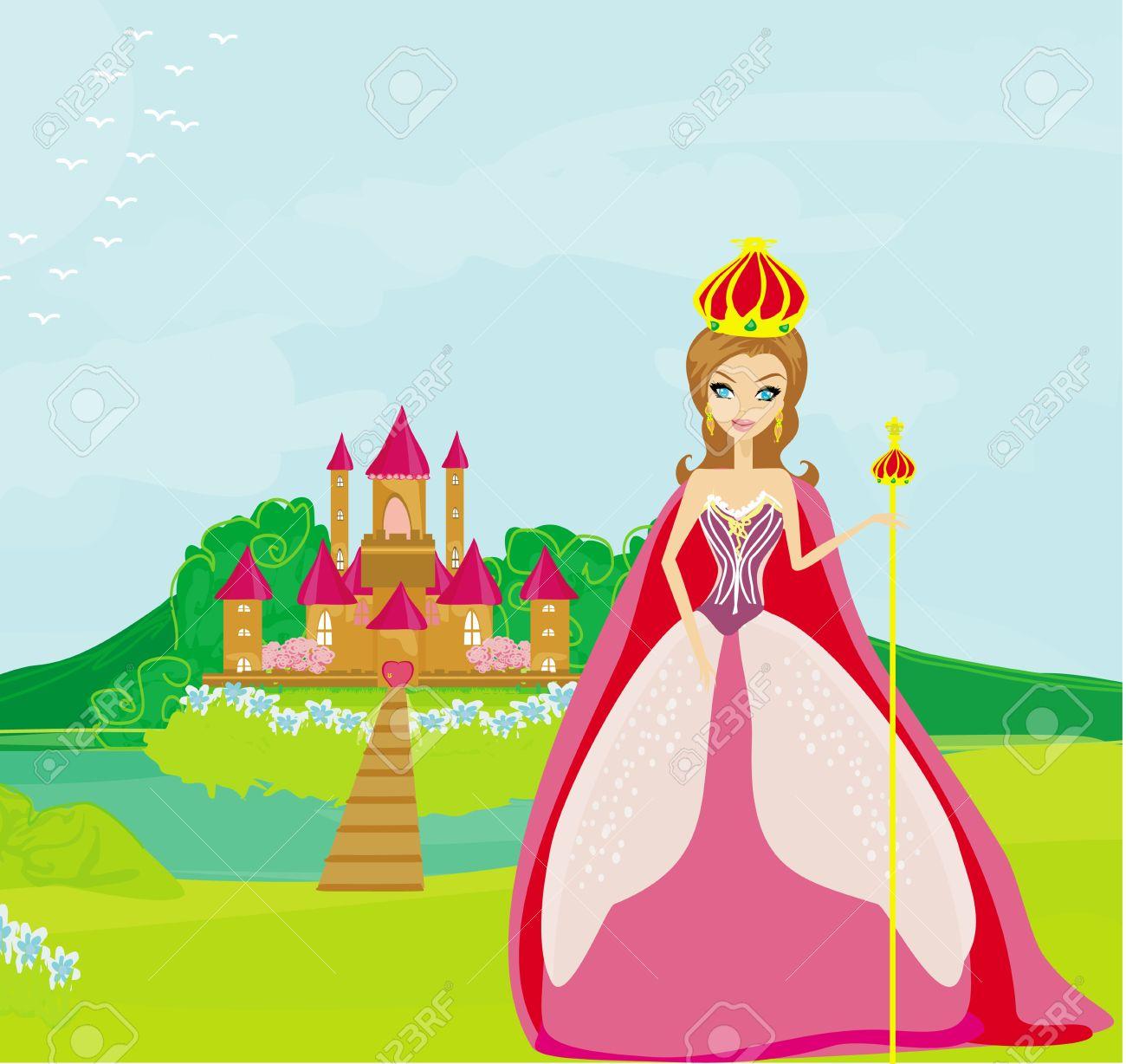 Beautiful queen in front of her castle Stock Vector - 19371903