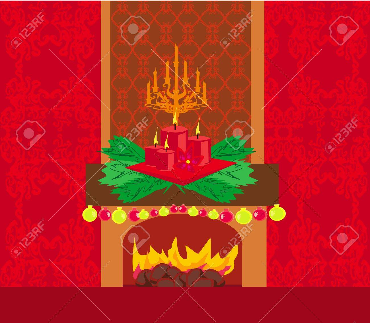 Christmas room with fireplace Stock Vector - 19797466