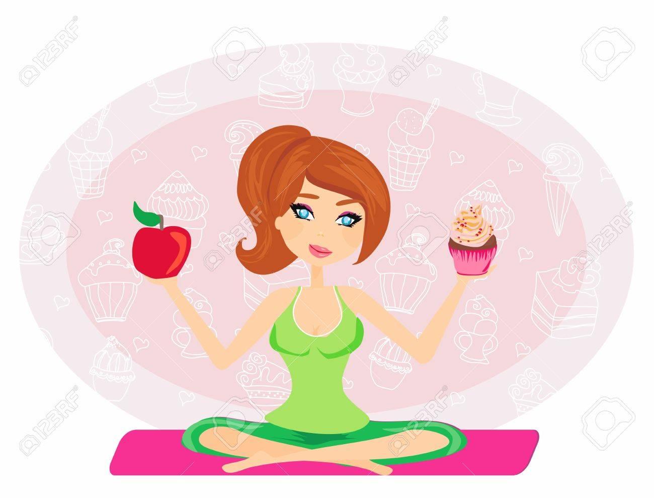 girl choosing between an apple and a cupcake Stock Vector - 20194382
