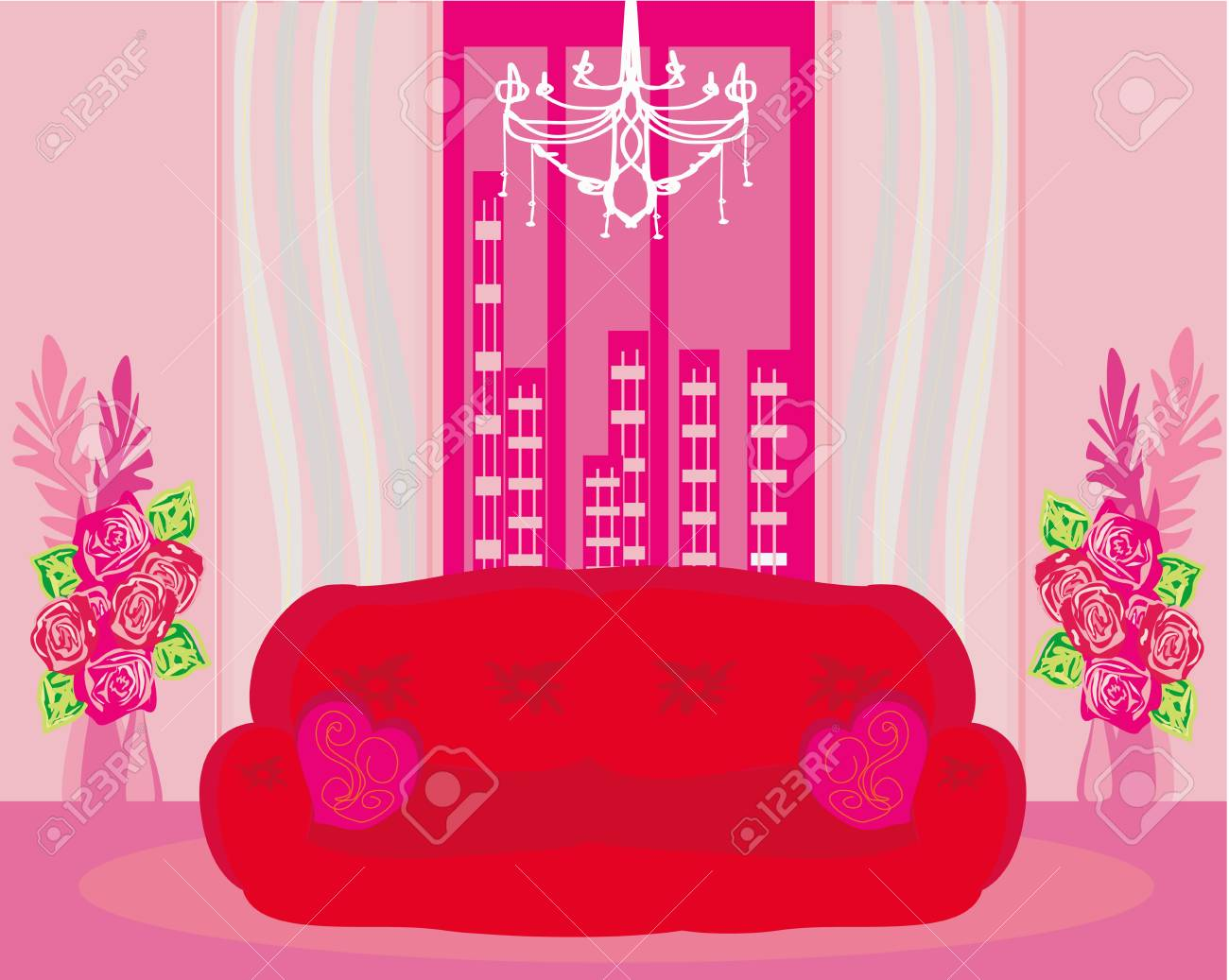 Fashionable interior of living room - vector Stock Vector - 20194389