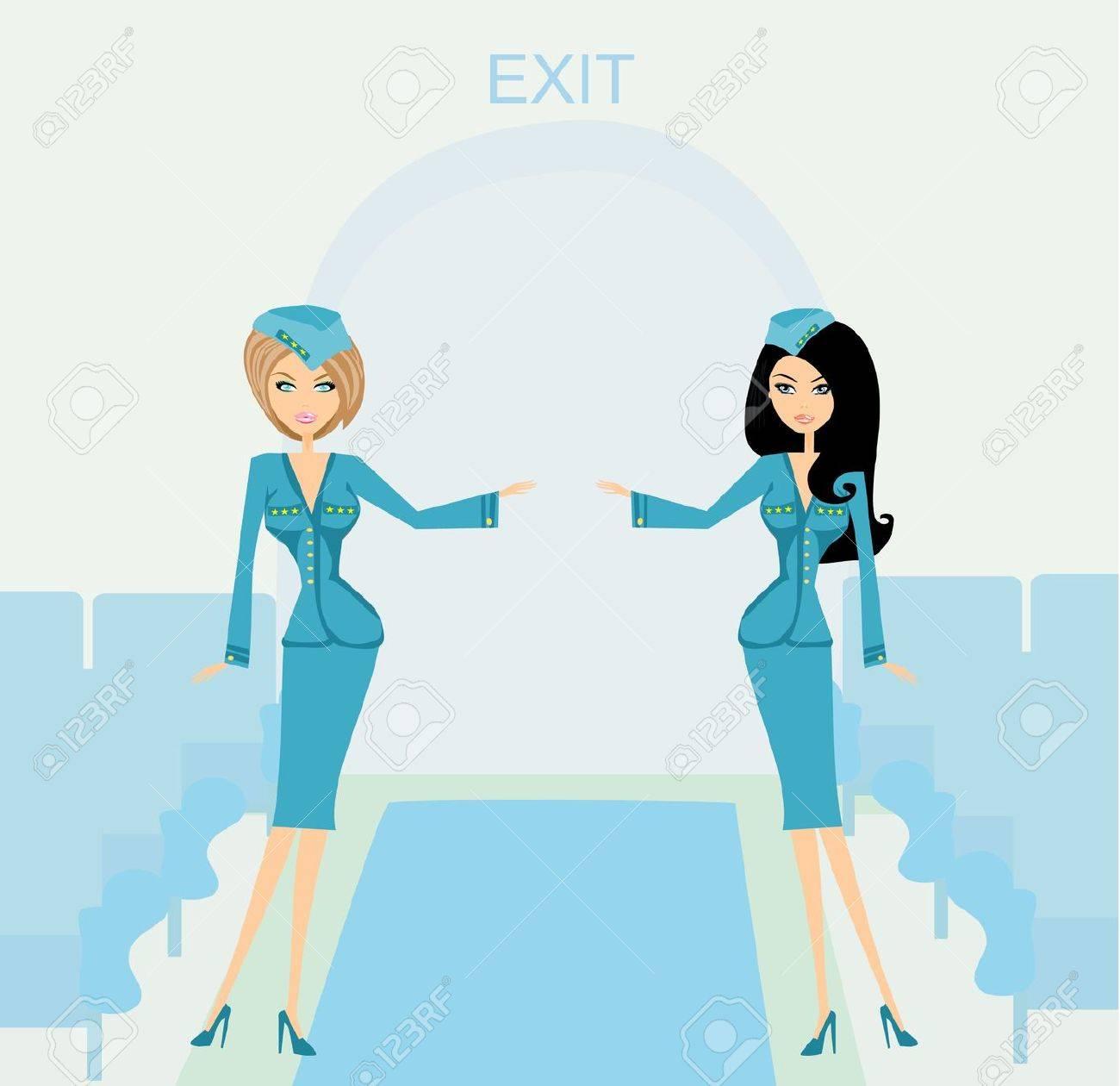 Two beautiful stewardess in blue uniforms inside an airliner passenger cabin - 20194396