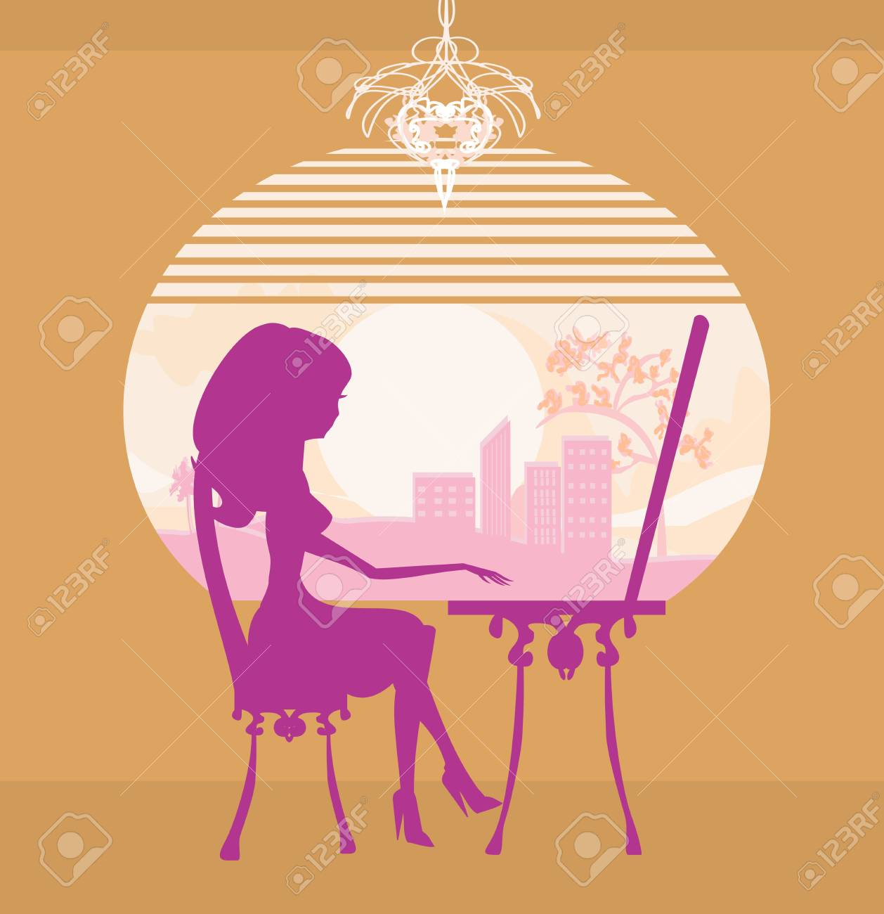 Online shopping - young smiling woman sitting with laptop computer Stock Photo - 20554214