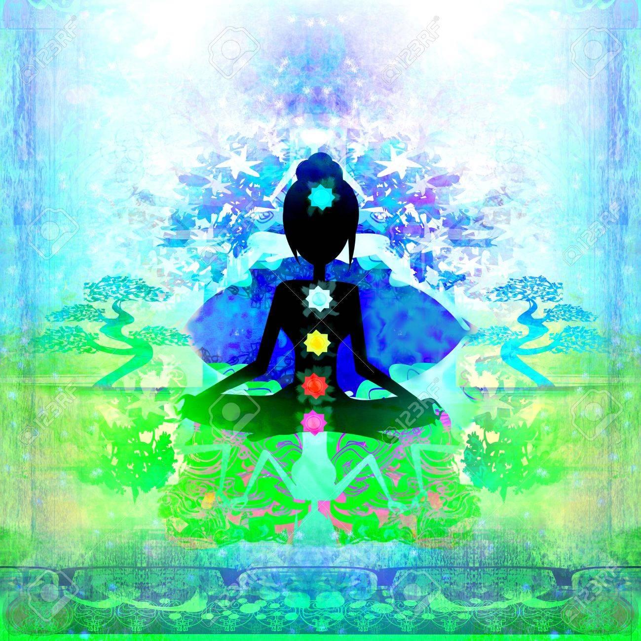Yoga lotus pose. Padmasana with colored chakra points. Stock Photo - 20556940